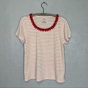 Talbots linen blend striped top with Pom Pom trim